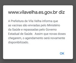 Sistema de prefeitura de Vila Velha não indica disponibilidade de vacinas. Foto: Reprodução
