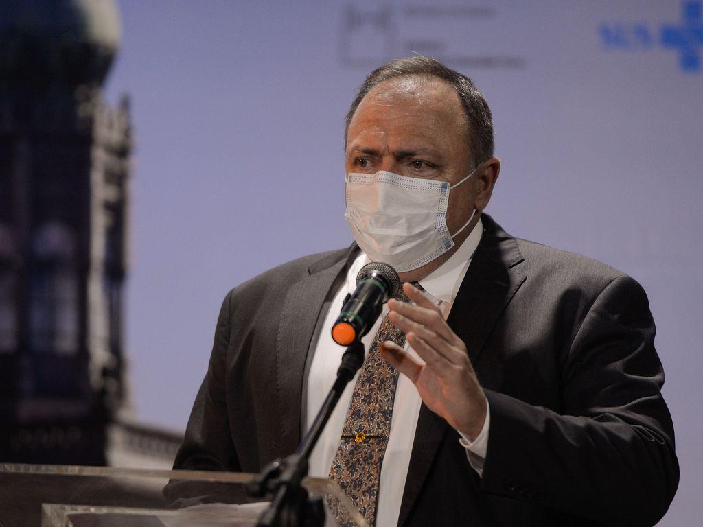 O ministro da Saúde, Eduardo Pazuello durante cerimônia de divulgação do edital de licitação do Complexo Industrial de Biotecnologia em Saúde-CIBS, na Fiocruz. (Foto: Tomaz Silva / Agência Brasil)
