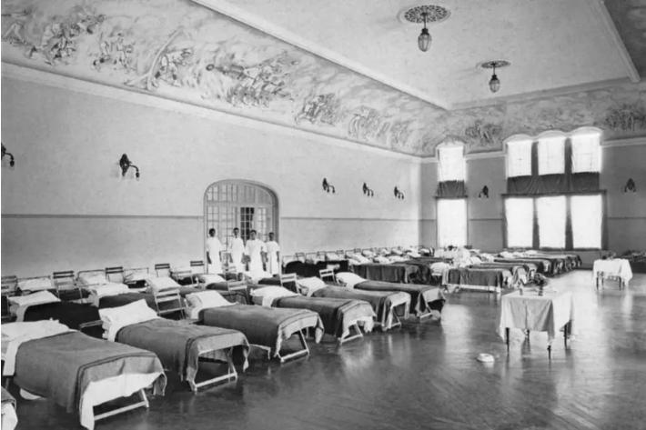 Hospital montado no Club Athletic Paulistano em 1918, durante a gripe espanhola. Foto: Acervo Fundação Biblioteca Nacional